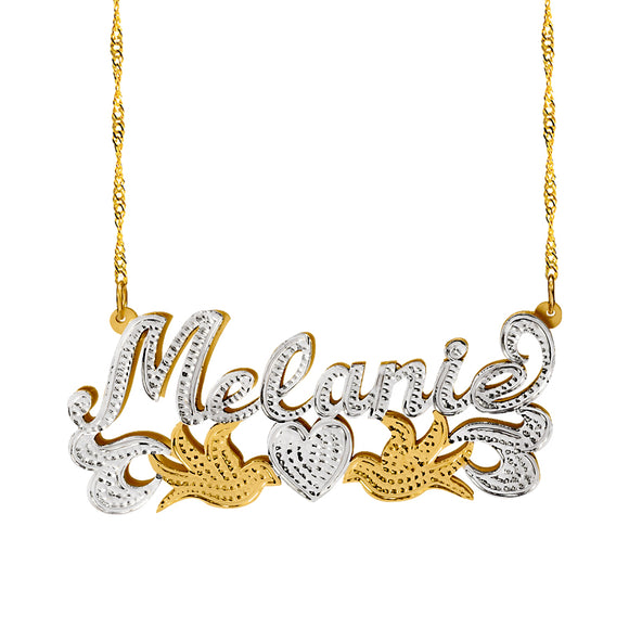 Personalized Double Plate Name Necklace with Doves