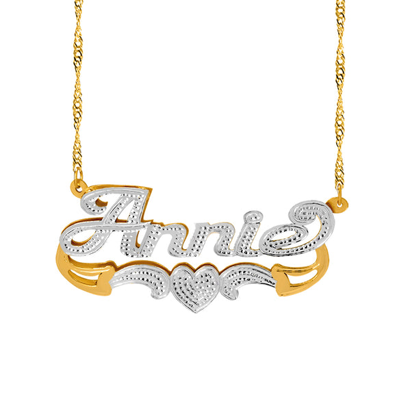 Personalized Double Plate Name Necklace With Beading