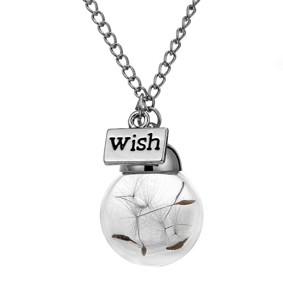 Dandelion Wish Glass Orb silver plated Necklace