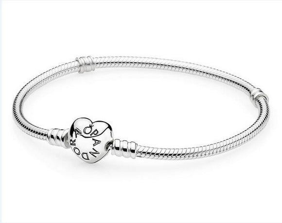 Fashion Heart Clasp Silver Snake Chain Bracelet