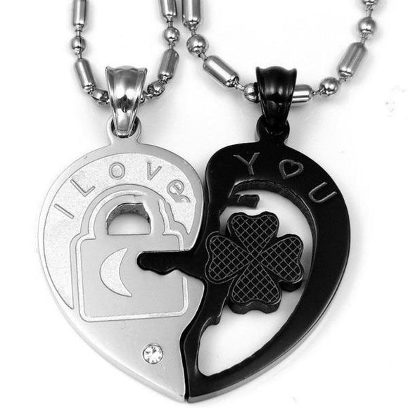 Lock and Key Heart Couples Necklace