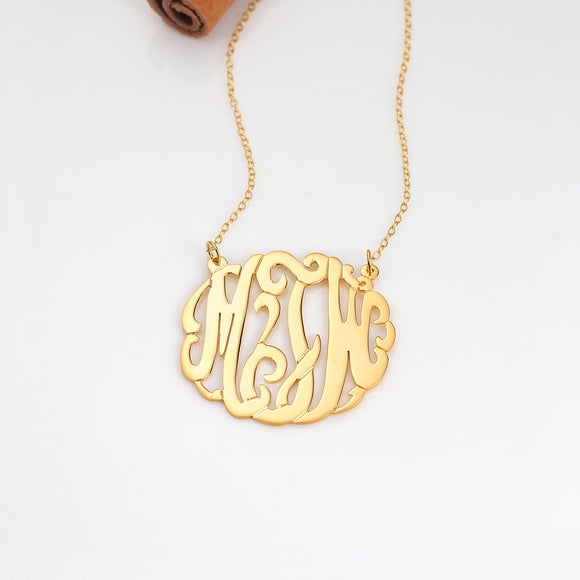 Script Monogram Necklace Split Chain