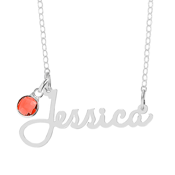 Personalized Name Birthstone Necklace