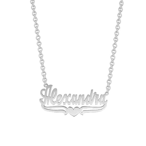 Personalized Name Necklace w/ Lower Tails & Heart