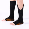 Image of 3 Pair - Antifatigue Compression Stockings - Open Toe - Zipper