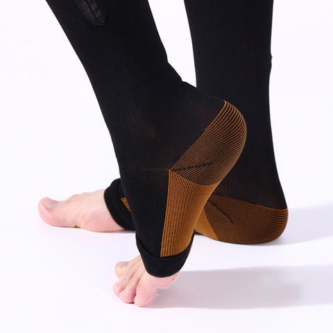 3 Pair - Antifatigue Compression Stockings - Open Toe - Zipper