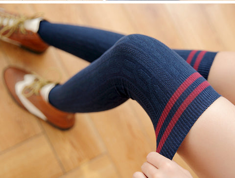 Thigh High Knitted Striped Stockings
