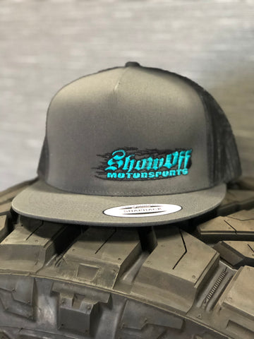 SHOW OFF CHARCOAL GREY & TEAL  (MESH SNAPBACK)