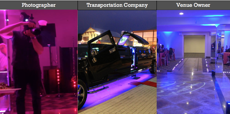 Photographer Limousine Rental Company Wedding Party Venue