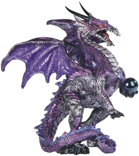 Purple Dragon Statue with Orb