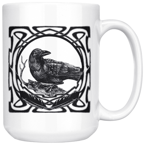 Celtic Raven Black and White 15 oz Mug