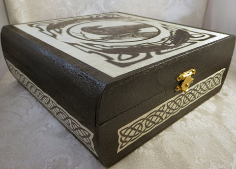 Side Celtic Raven Wood Box