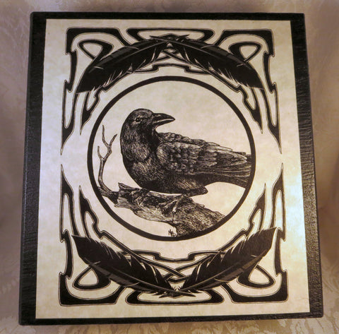 Top Celtic Raven Wood Box