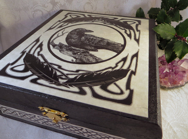 Celtic Raven Wooden Tarot or Keepsake Box
