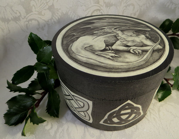 Dragon Round Celtic Box - Medieval Wedding Ring Bearer Alternative