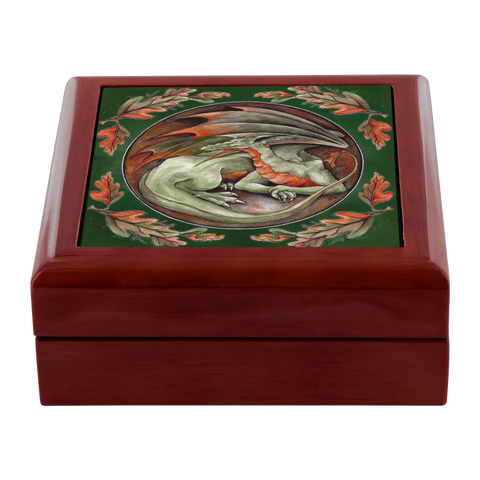 Green and orange dragon Jewelry Box