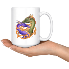 Forever Love Purple and Green Dragons 15 oz Mug