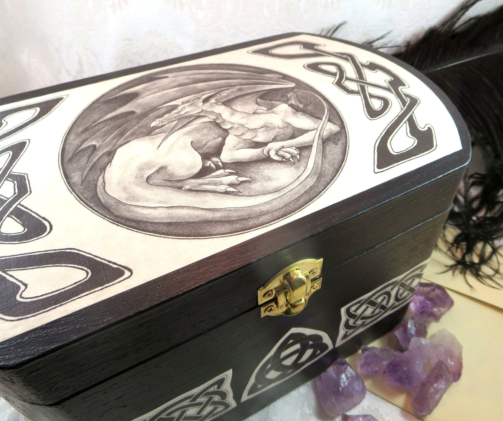 Dragon Wooden Box With Celtic Knots Medieval Wedding Card And