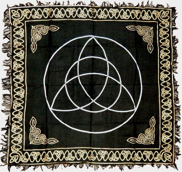 Black Triquetra Altar Cloth 36 x 36 Pagan Wiccan Celtic Decor