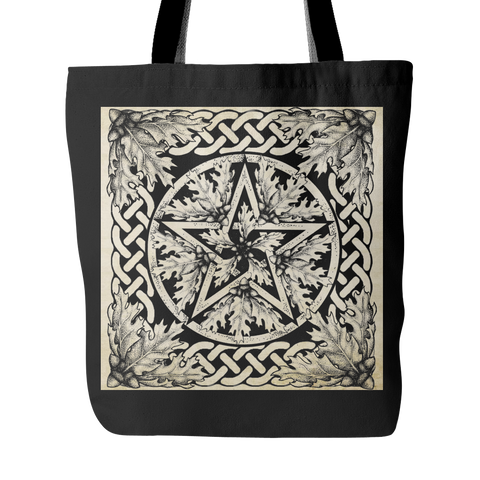 Black Oak Pentacle Fabric Tote Bag