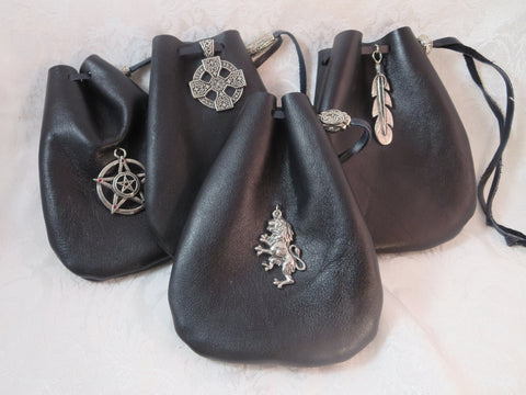 Black Leather Drawstring Pouch