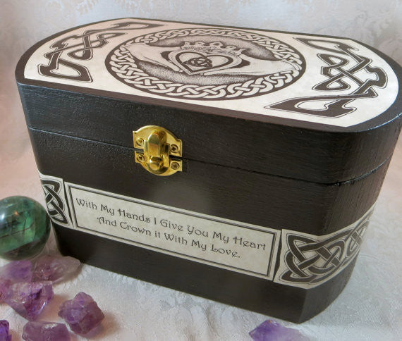 Claddagh Wood Box with Celtic Knots, Irish Wedding Card or Storage Box
