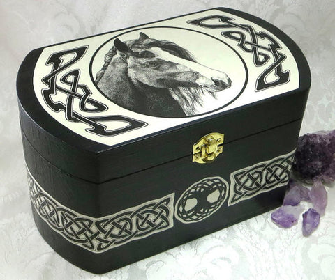 Horse Celtic Totem Large Wood Storage Box by Melanie Fuller