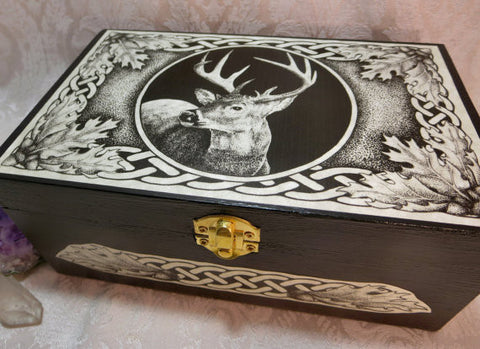 Stag Deer Celtic Totem Wooden Storage or Tarot Box by Melanie Fuller