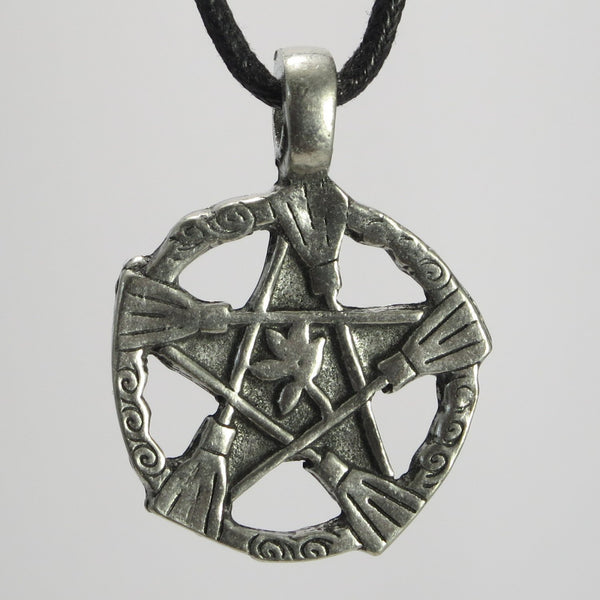 Broom Pentacle Pewter Pendant Necklace