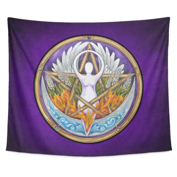Elemental Goddess Pentacle Tapestry Wall Hanging