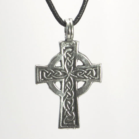 Celtic Cross Pewter Pendant Necklace with Cord or Chain