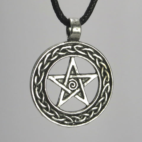 Celtic Pentacle Pewter Pendant Necklace on black cord or chain
