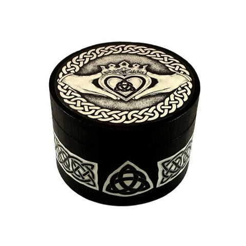 Claddagh Box Small Round Wood Box by Melanie Fuller