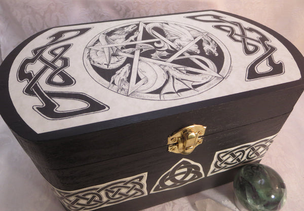 Dragon Pentacle Celtic Box by Melanie Fuller - Wicca Pagan Magic Storage