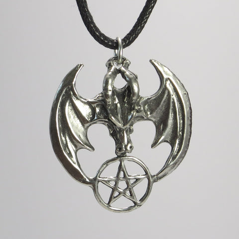 Dragon Pentacle Pewter Wiccan Pagan Magaic Pendant Necklace