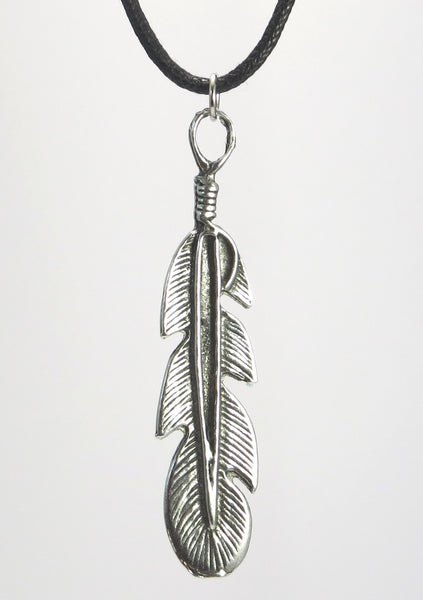 Feather Pewter Pendant Necklace