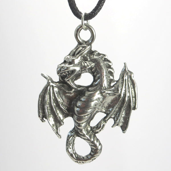 Flying Dragon Pewter Pendant Necklace - Amphiptere Style