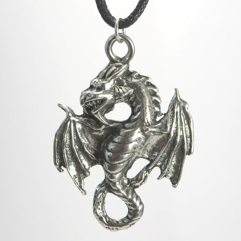Flying Dragon Pewter Pendant - Amphiptere Style