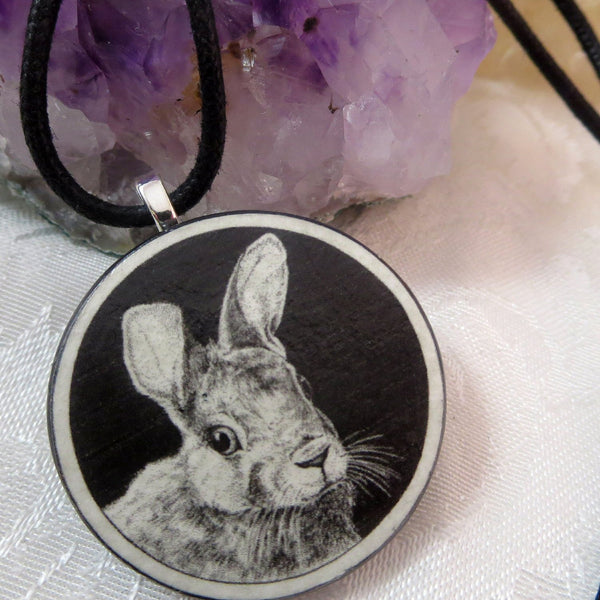 Rabbit Wooden Pendant by Melanie Fuller