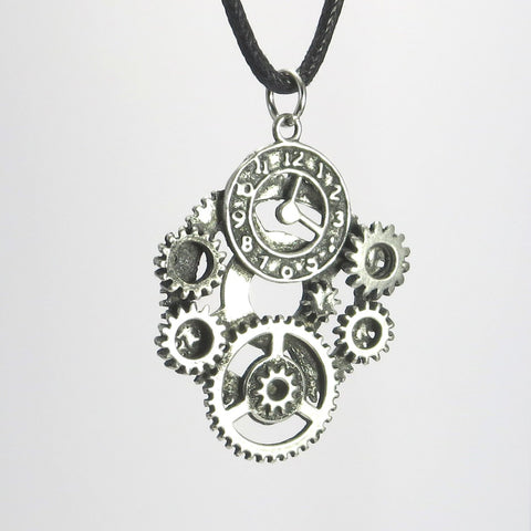 Steampunk Gears Pewter Pendant Necklace