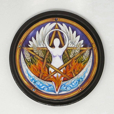 Wiccan Elemental Goddess Pentacle Altar Plaque