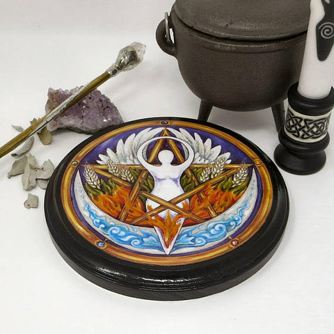 Wiccan Elemental Goddess Pentacle Altar Tile