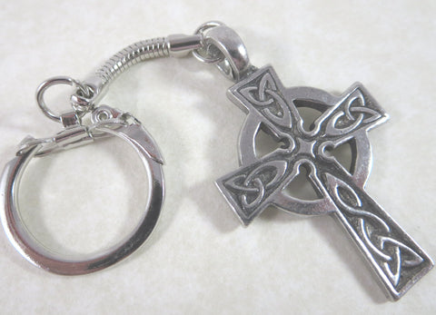 Celtic Cross Pewter Keychain