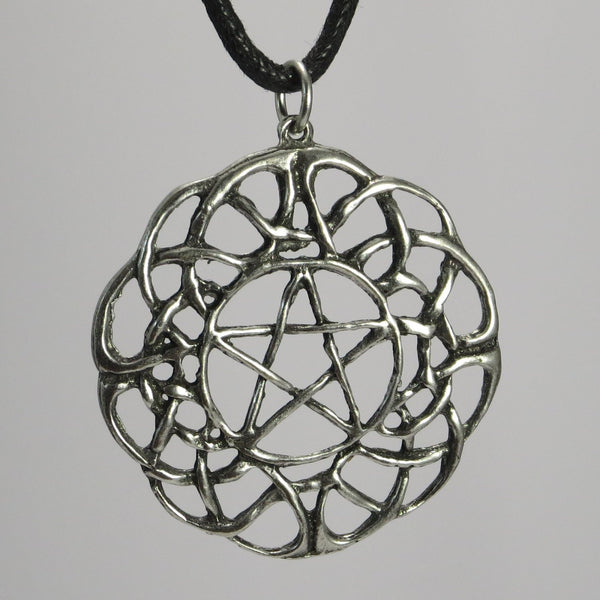 Large Celtic Pentacle Pewter Pendant Necklace