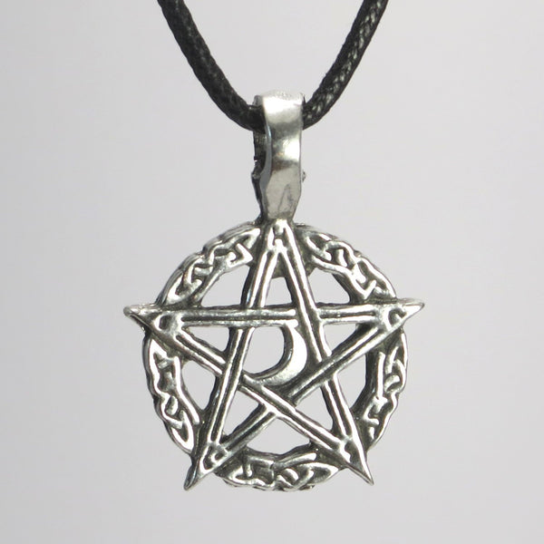 Celtic Moon Pentacle Pewter Pendant Necklace