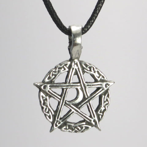Moon Pentacle Pewter Pendant Necklace