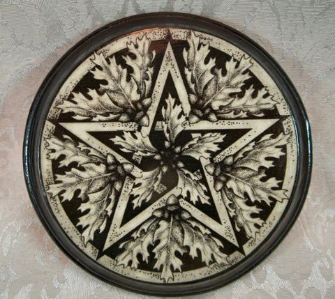 Dragon Pentacle Altar Tile Paton Plaque Pagan Wiccan Wall