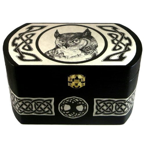 Owl Celtic Totem Large Storage Wood Box - Original Art by Melanie Fuller
