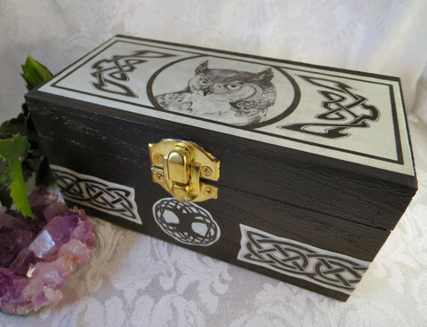 Great Horned Owl Trinket Box with Celtic Knots