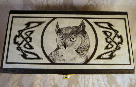 Great Horned Owl Wooden Box Top